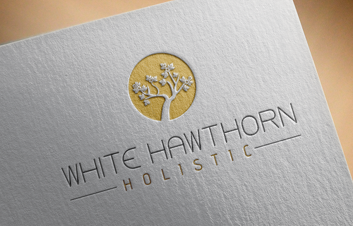 white hawthorn holistic Logo Winning Design by pRommeL21