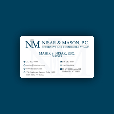Nisar & Mason, P.C. Attorneys and Counselors at Law Business Cards and Stationery  Draft # 100 by rasix
