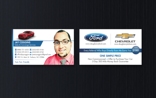Doug Henry Ford & Chevrolet Tarboro Business Cards and Stationery Winning Design by einsanimation