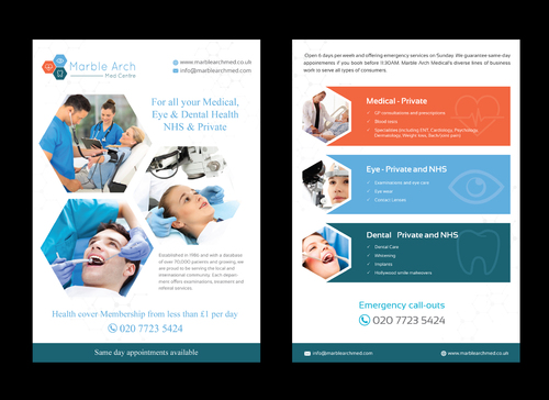 Marble Arch MED Centre Marketing collateral Winning Design by pivotal