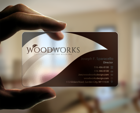 Woodworks custom cabinetry and millwork Business Cards and Stationery Winning Design by einsanimation