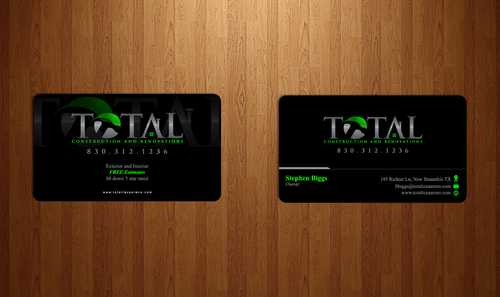 TOTAL Construction & Renovations  Business Cards and Stationery Winning Design by Chlong2x