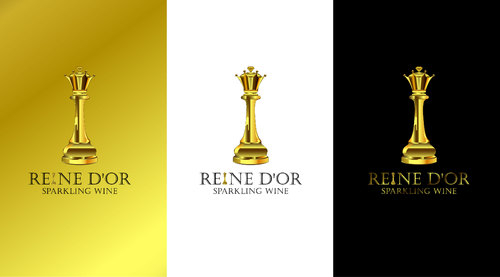 Reine D'Or Sparkling Wine Logo Winning Design by Designeye
