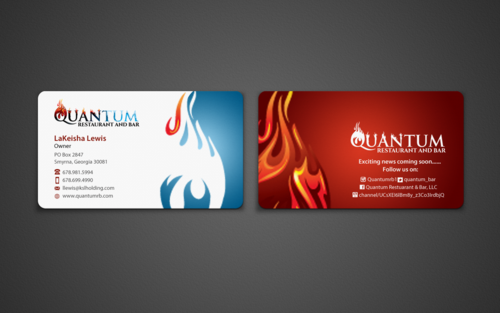 Quantum Restaurant & Bar, LLC. Business Cards and Stationery Winning Design by einsanimation