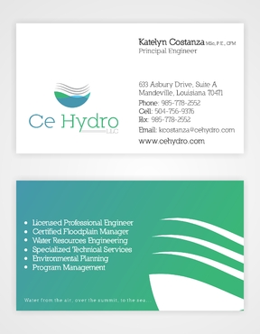 Water Resources, flooding, engineering, hurricanes, rain, flood control structures Business Cards and Stationery  Draft # 125 by elevatedDesigns