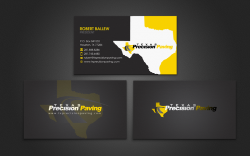 Texas Precision Paving Business Cards and Stationery Winning Design by einsanimation