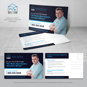 Design by sevensky For 4x6 post card for Real Estate Investment Brokerage