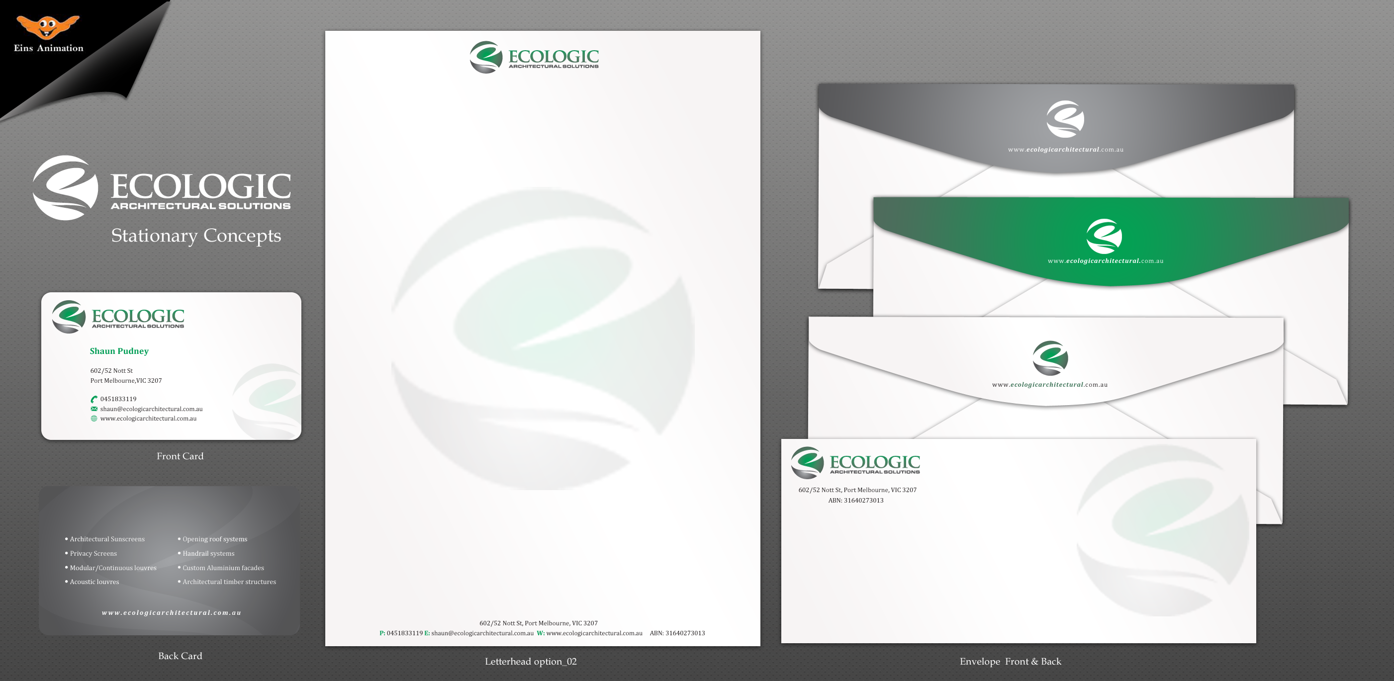 Business card design for Ecologic Architectural Solutions - Construction