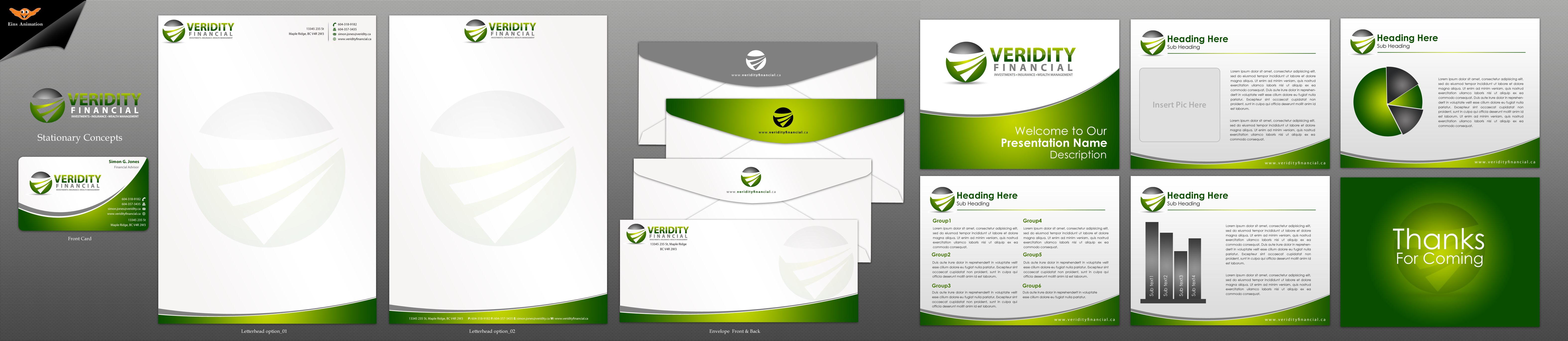 Stationery, business card and Powerpoint template - Financial Services
