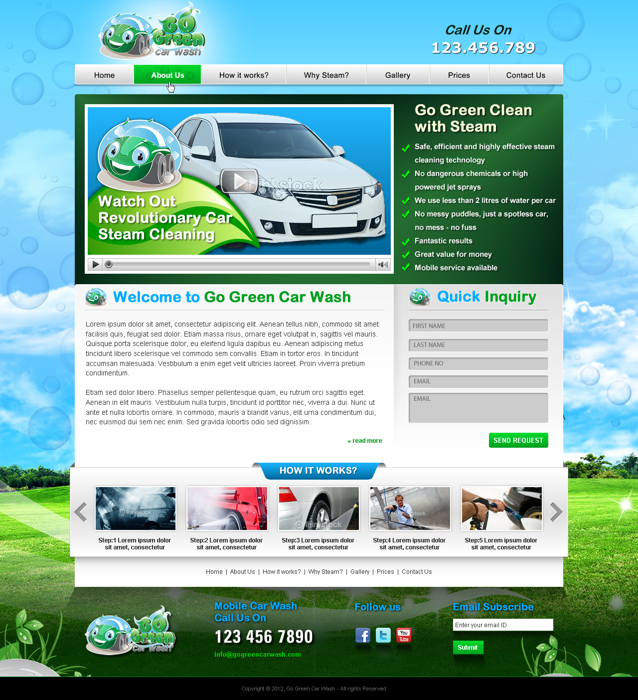 Website for a steam car wash company - Cleaning