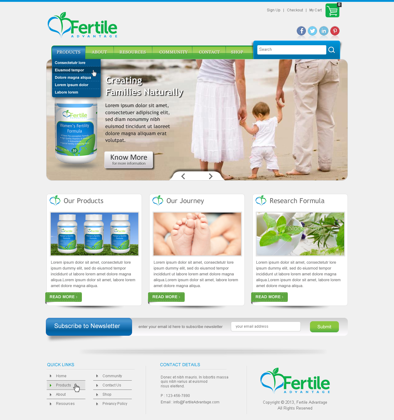 Home Page Design for Cutting-edge Vitamin Company - Health