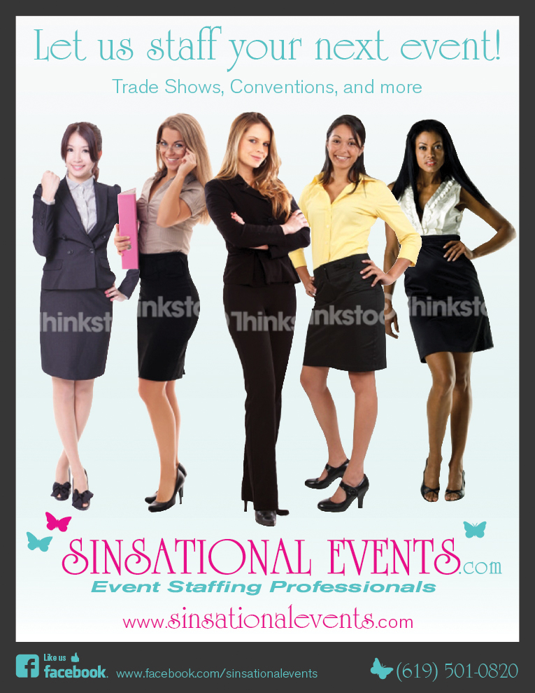 We need an Ad designed for Sinsational Events Staffing Agency - Events