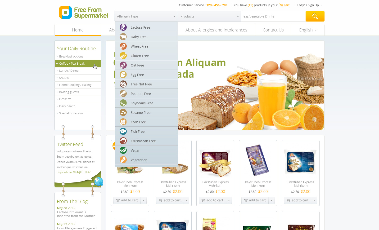 Webpage/Template design for to be launched webshop - Food