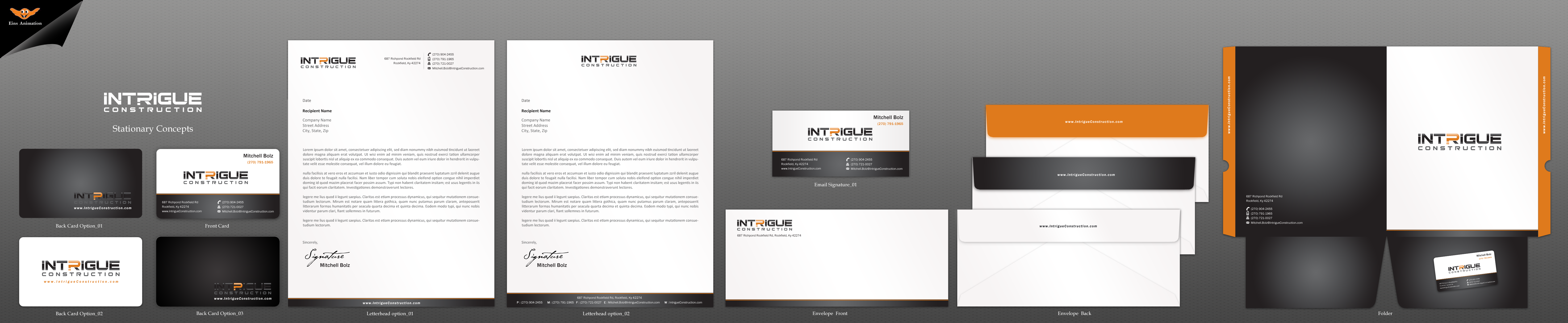 intrigue construction biz cards by intrigue zilliondesigns