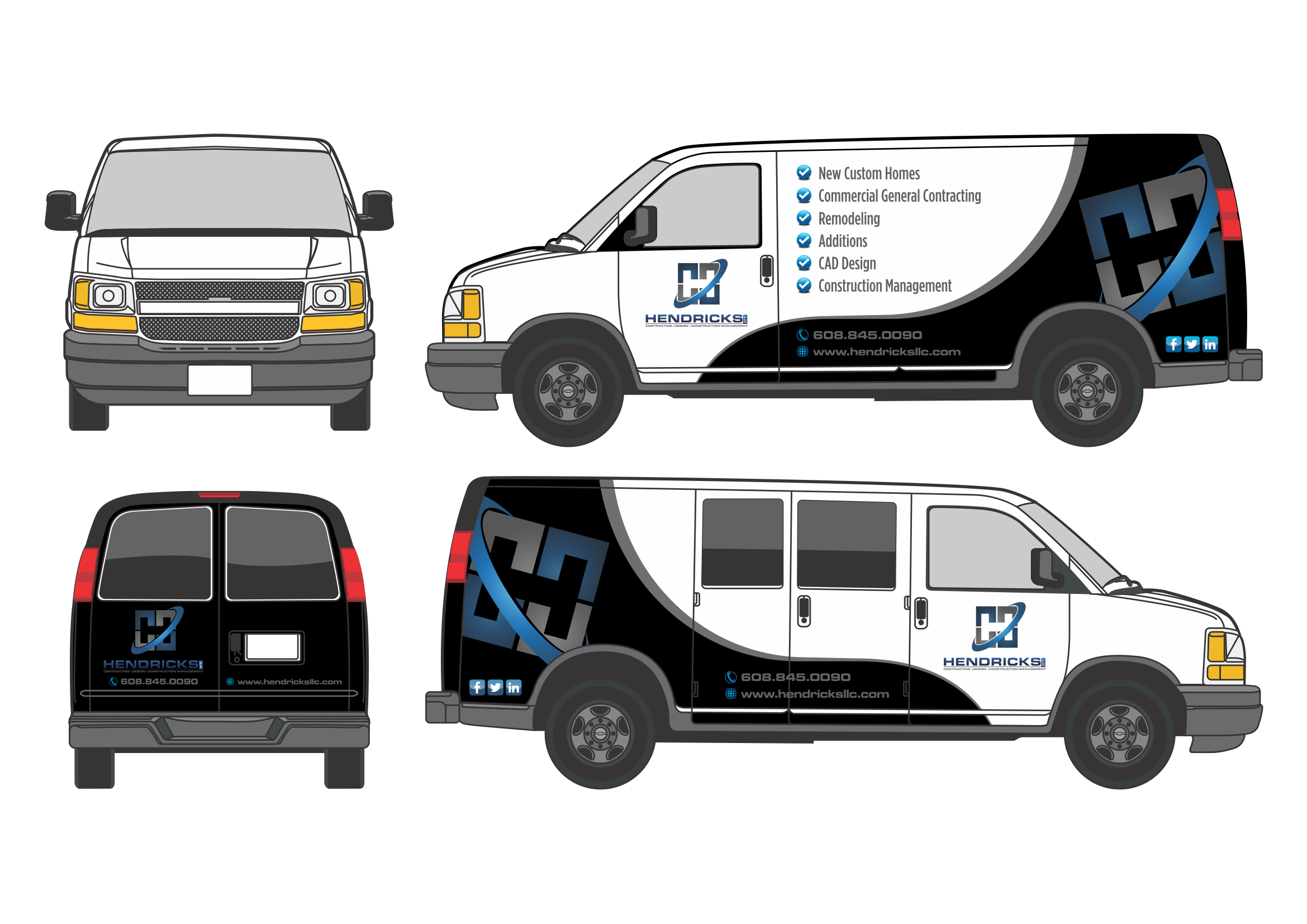 Custom High-Res Automotive Wrap Design For Hendricks Construction Vehicles - Construction