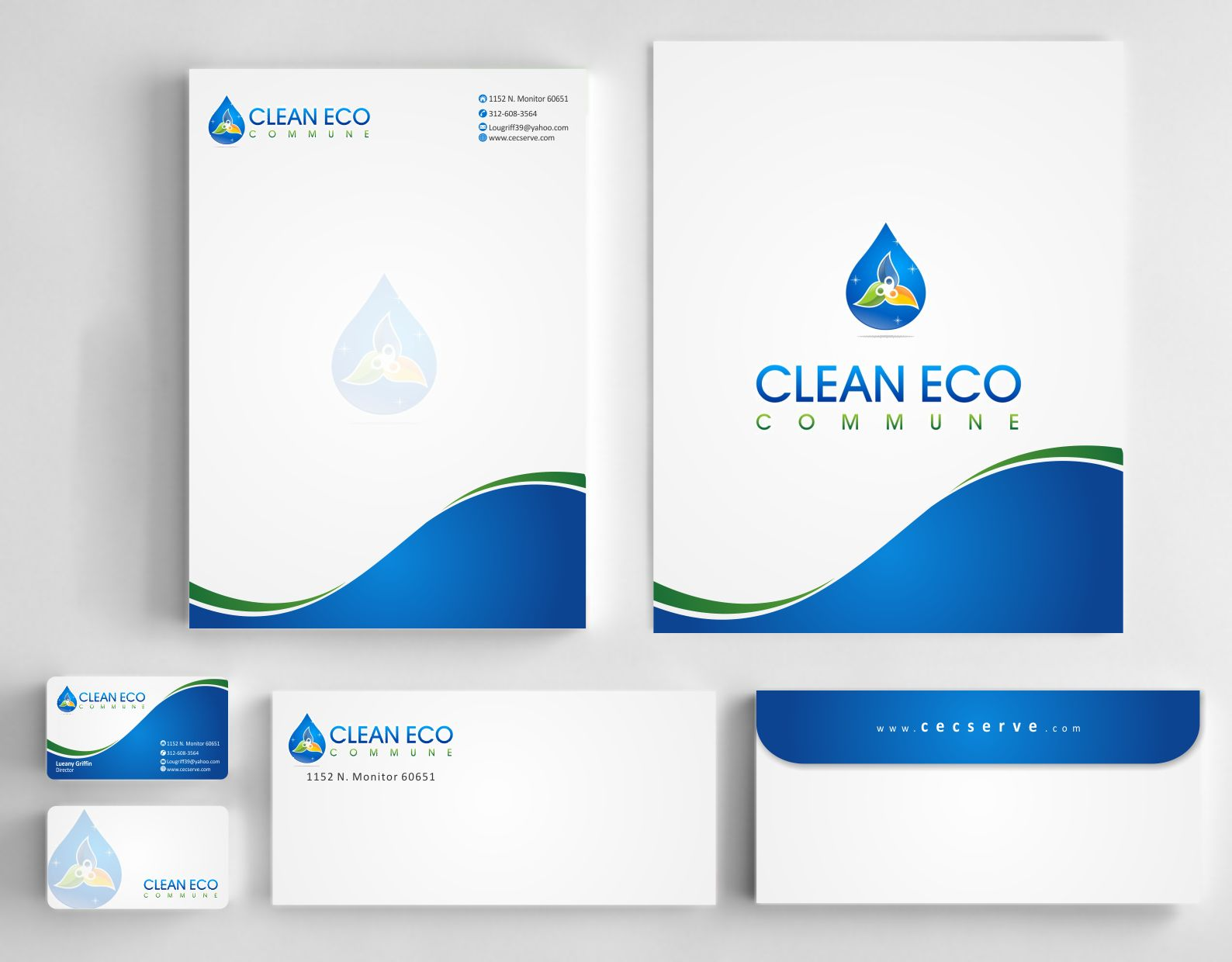 Modern logo for a cleaning company. Name of the company is CLEAN ECO COMMUNE - Cleaning