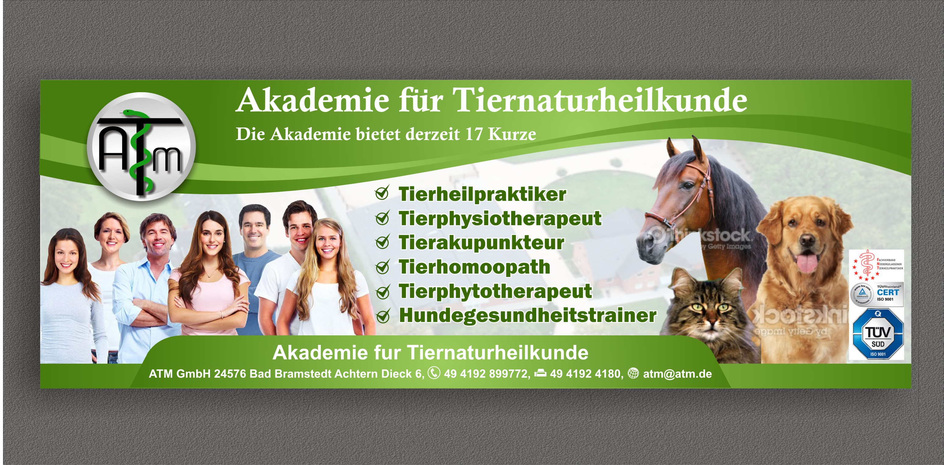 magazine ad for an academy of jobs with animals (horse,cat,dog - Education