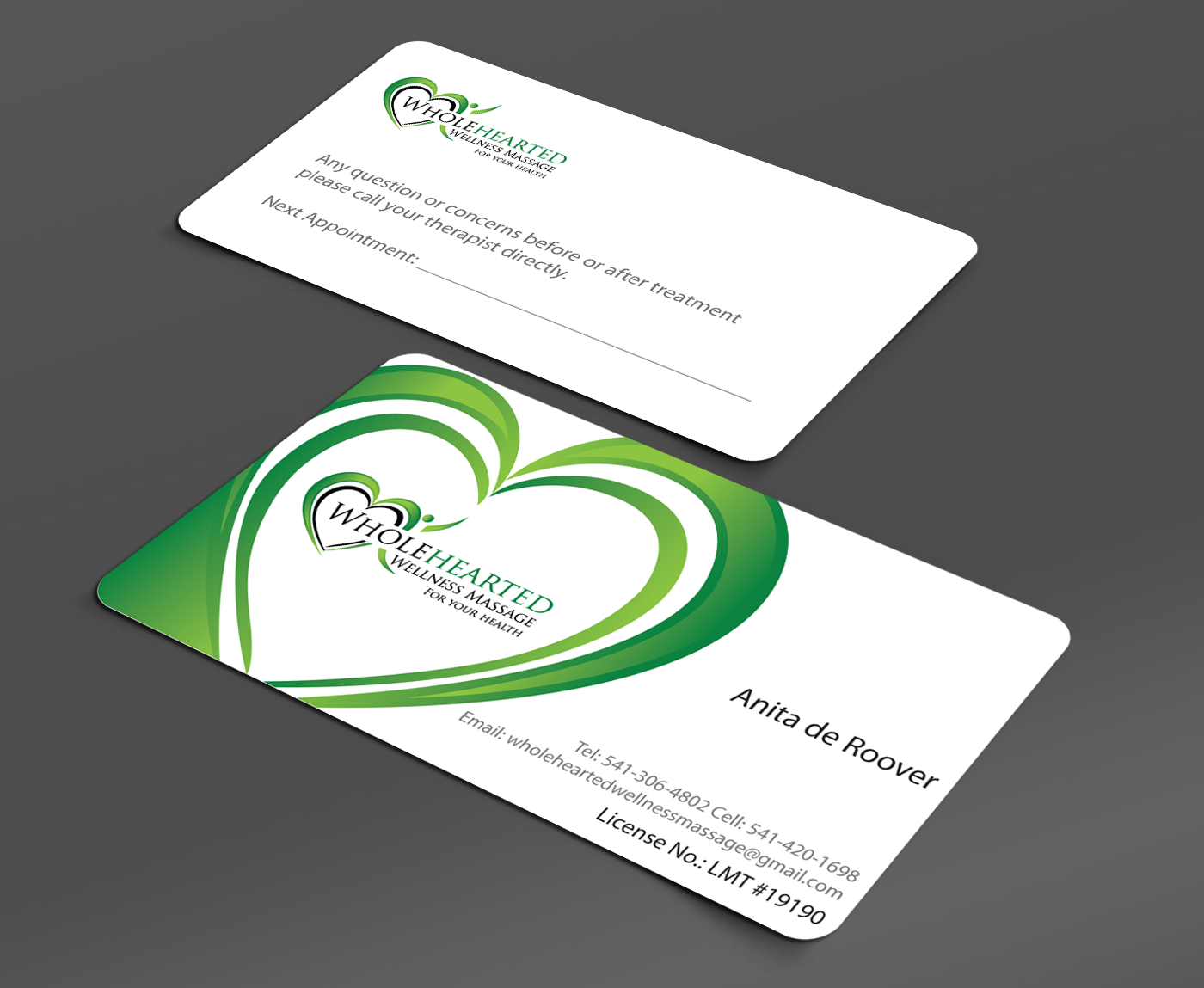 business cards for wellness massage practice - Massage Therapy