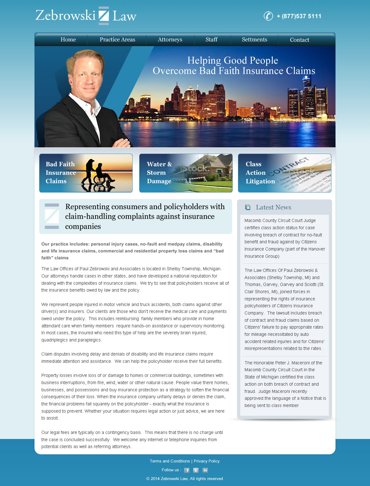 Zebrowski Law Website design - Law
