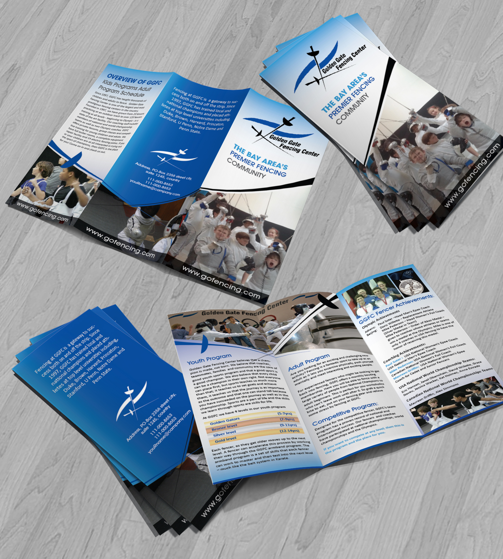 Tri fold brochure for a Fencing Center  - Sports