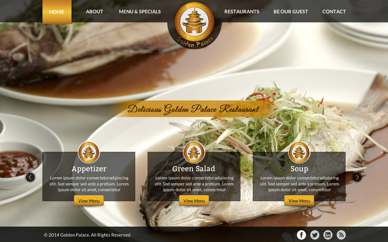 Website for Golden Palace restaurant - Food