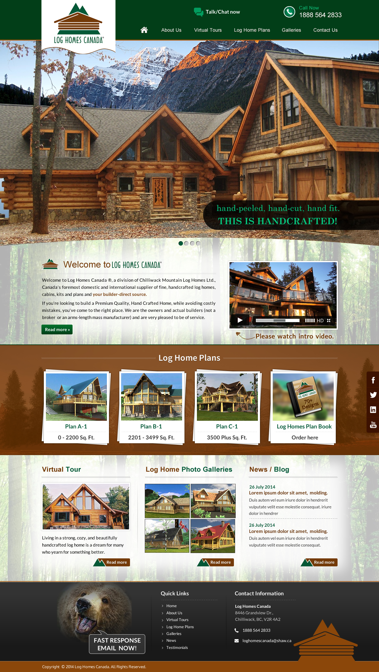 new website for log home company - Construction