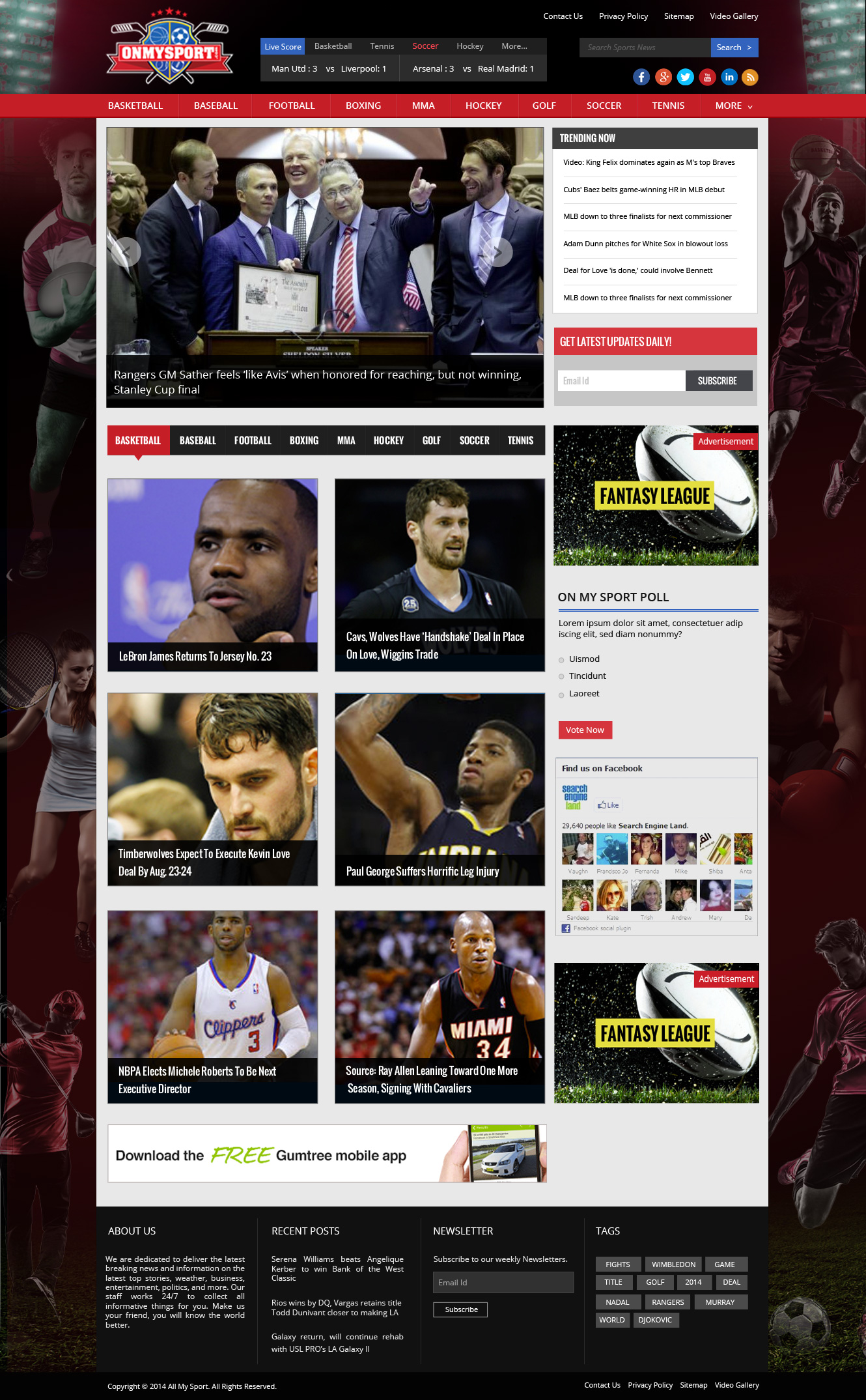 Website Template For Sports Site - Sports