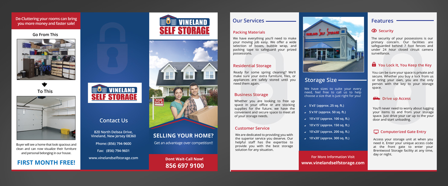 Self Storage 2 Versions of Brochures and 2 flyers - Storage