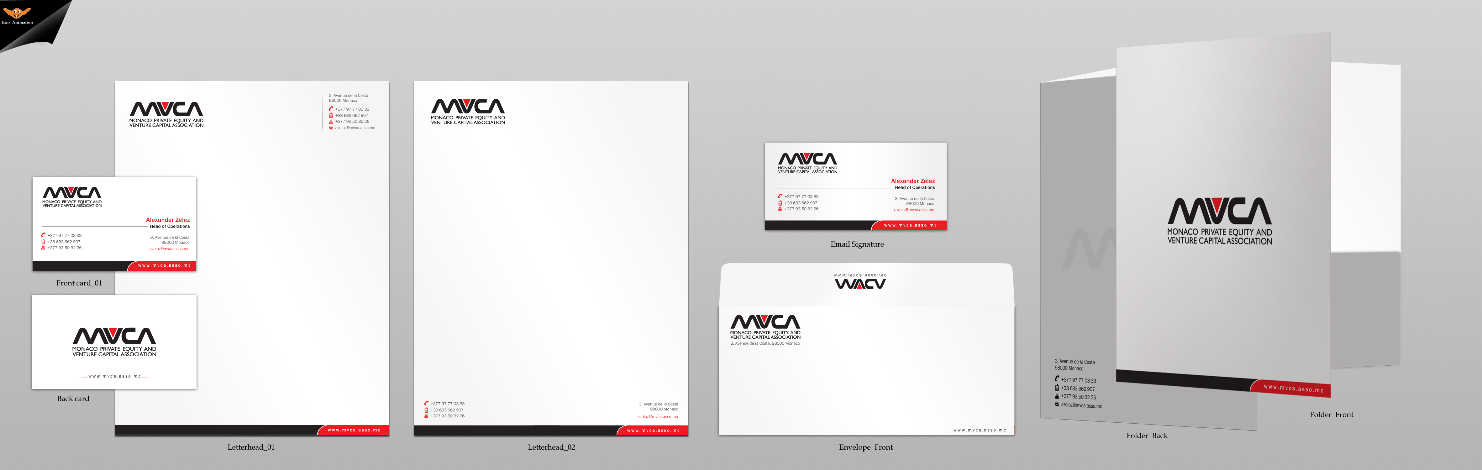 Business card, letterhead, envelope design, email footer for non-profit private equity association - Financial Services