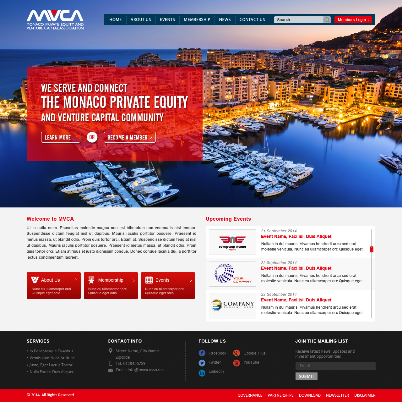 New web layout & design for non-profit Private Equity & Venture Capital Association  - Financial Services