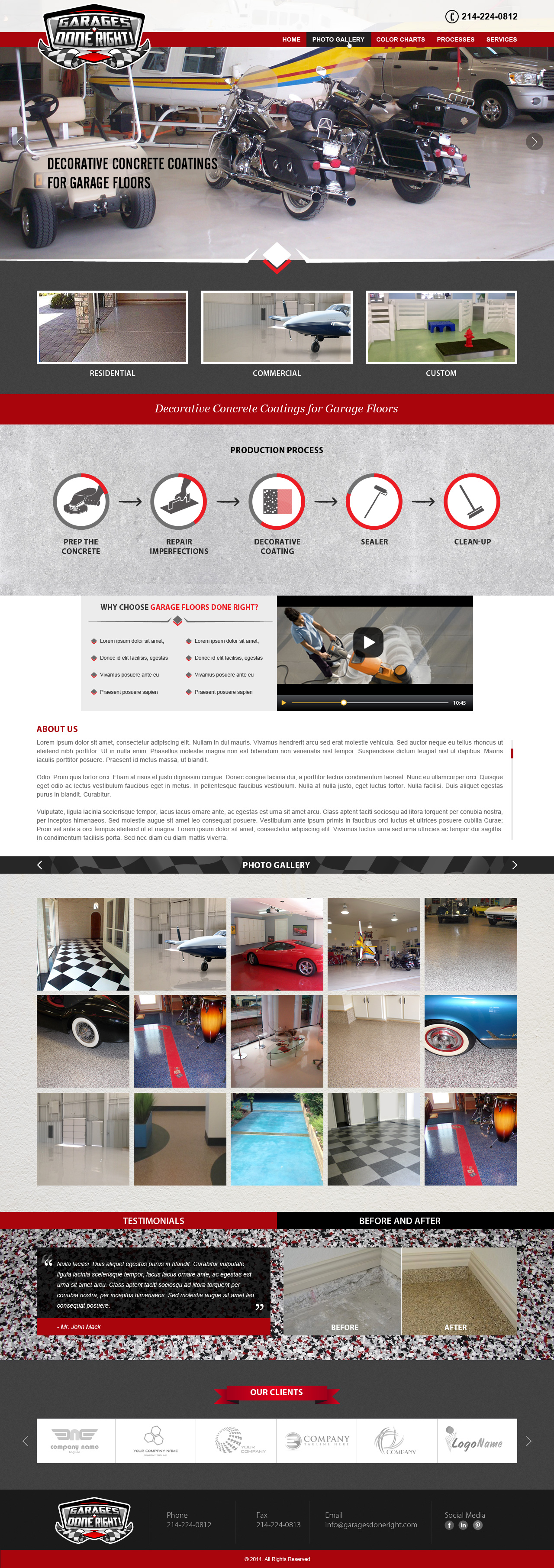 "Website for ""Garage Floors Done Right"" - Construction"