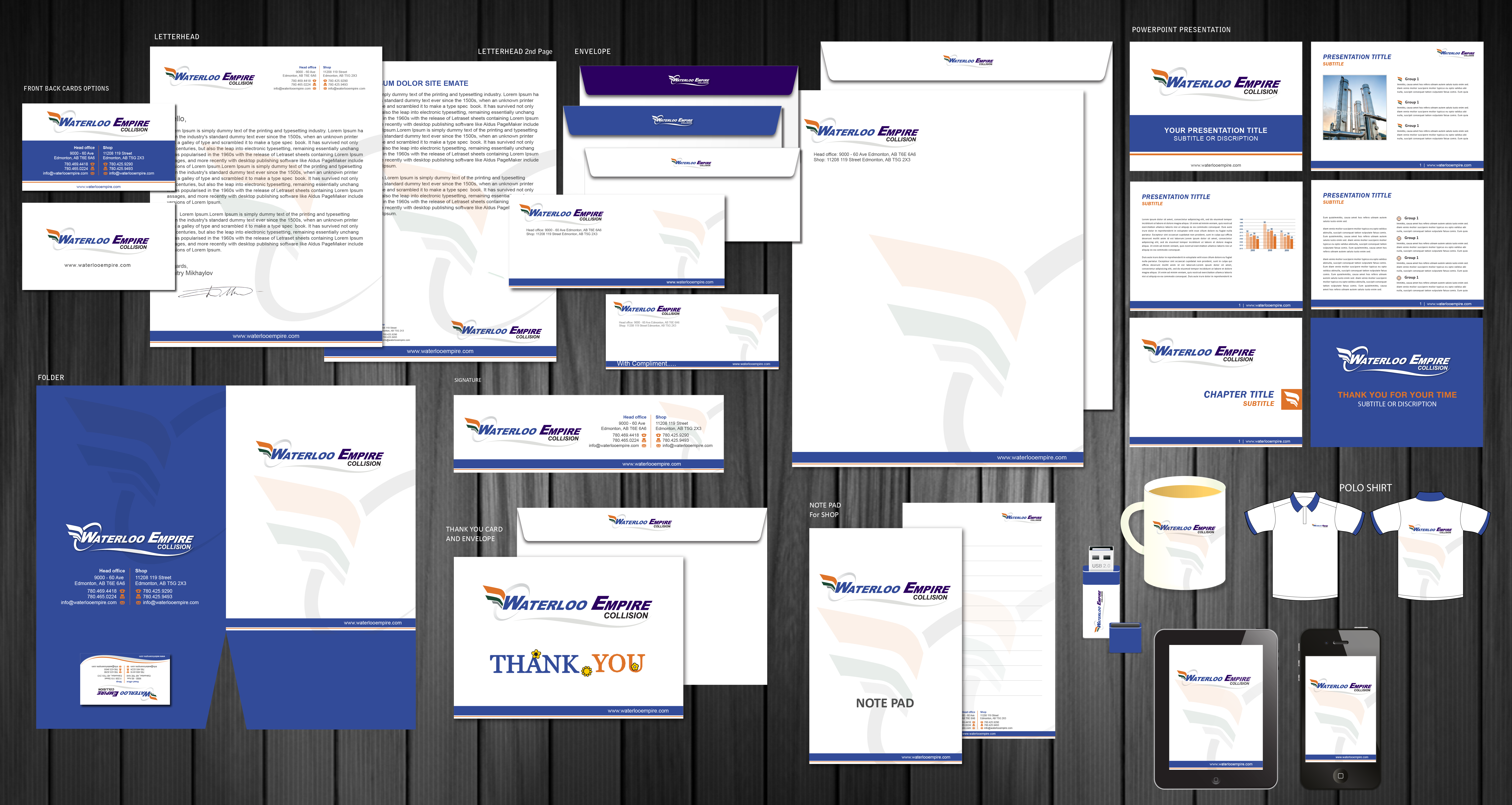 Envelopes, letterhead , 2nd page, business cards needed for company - Automotive