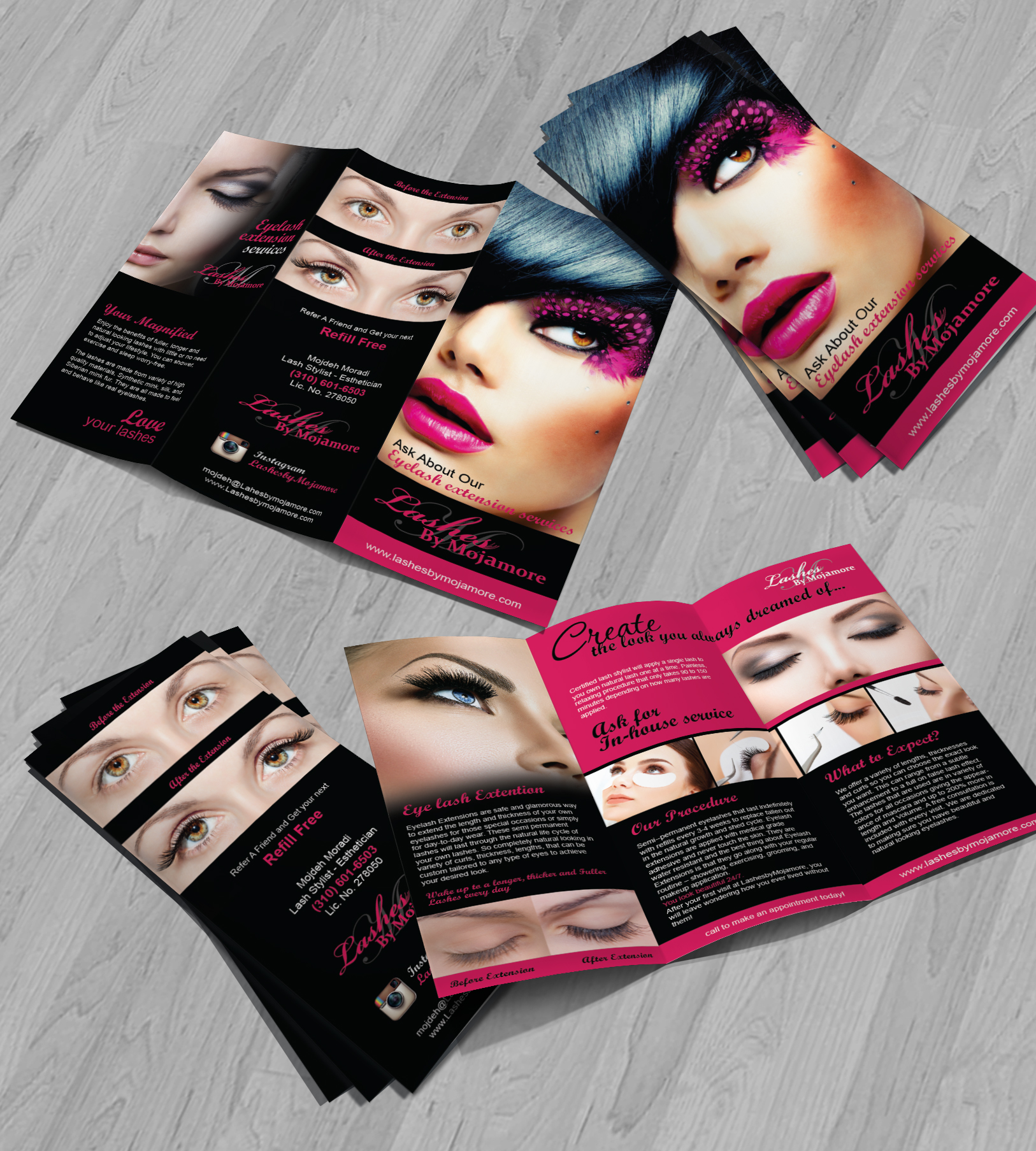 Tri Fold Brochure for Lashesbymojamore - Salon & Spa