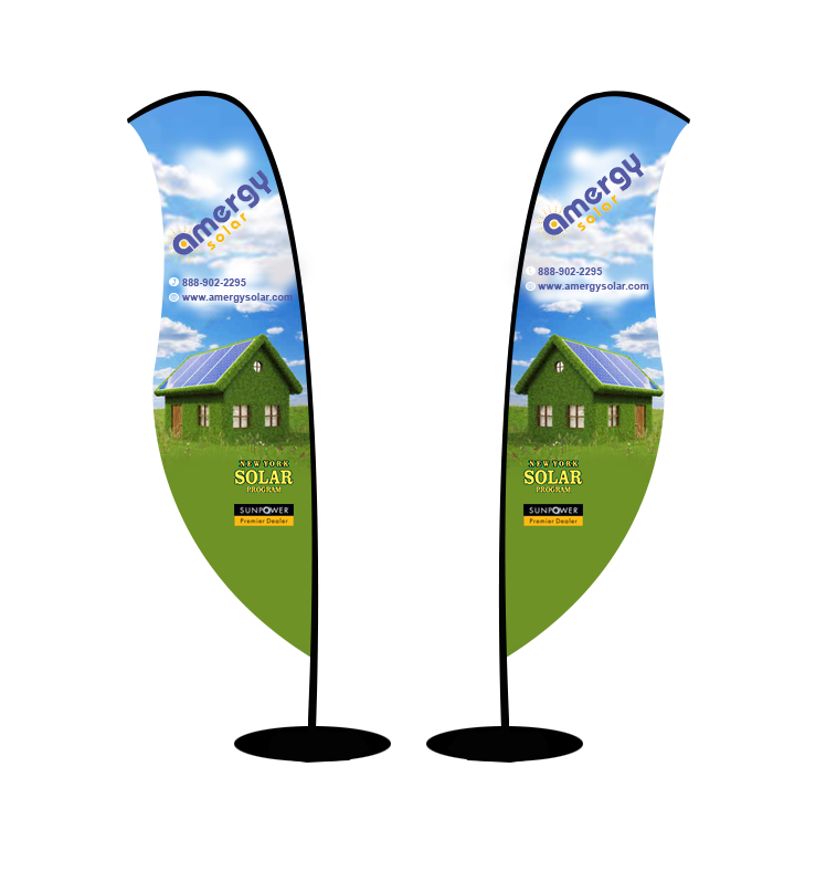 3 designs; 1 double sided yard sign, 1 double sided sail flag sign, 1 large retractable banner  - Advertising