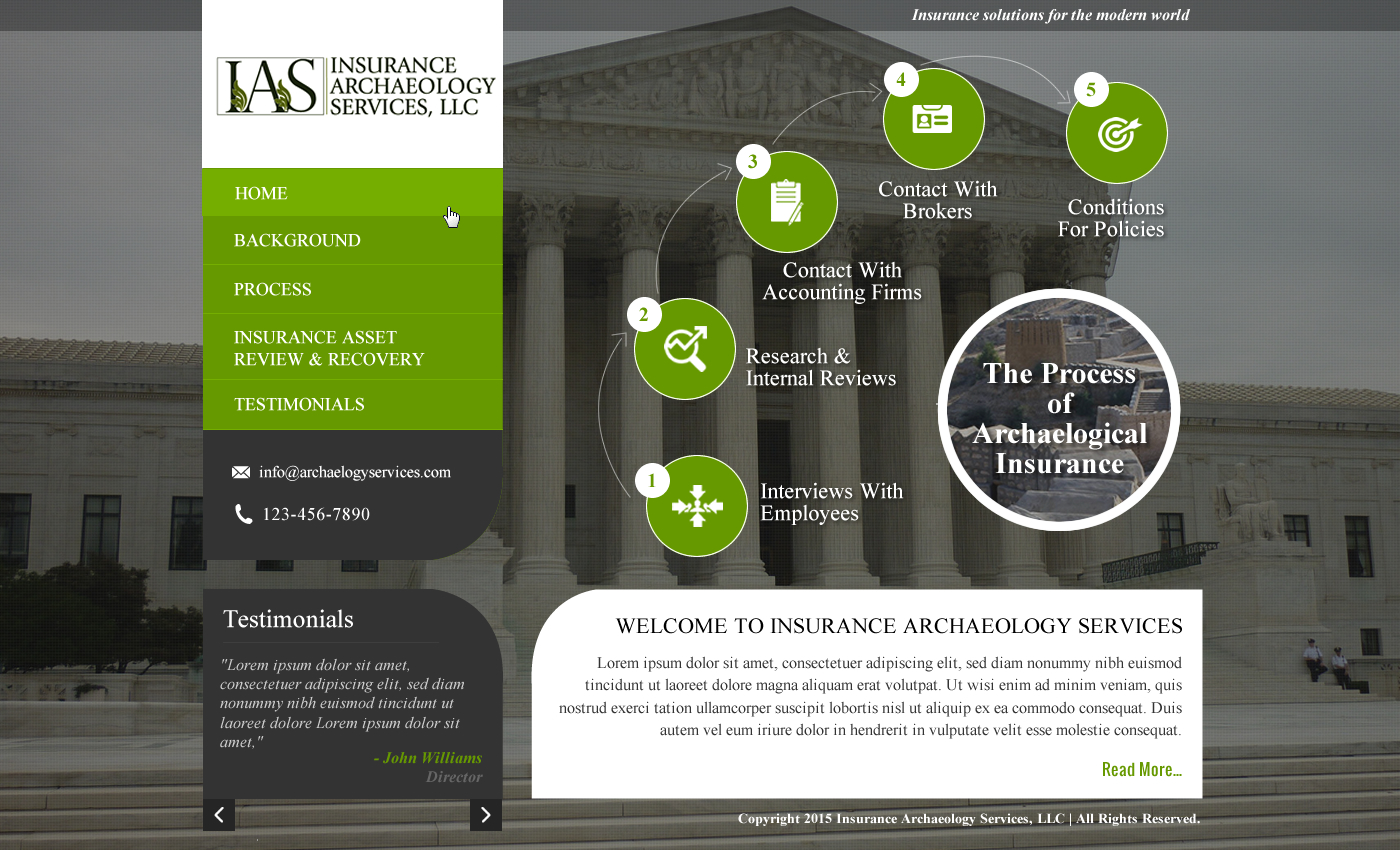 "web page for ""Insurance Archaeology Services"" - Corporate Services"