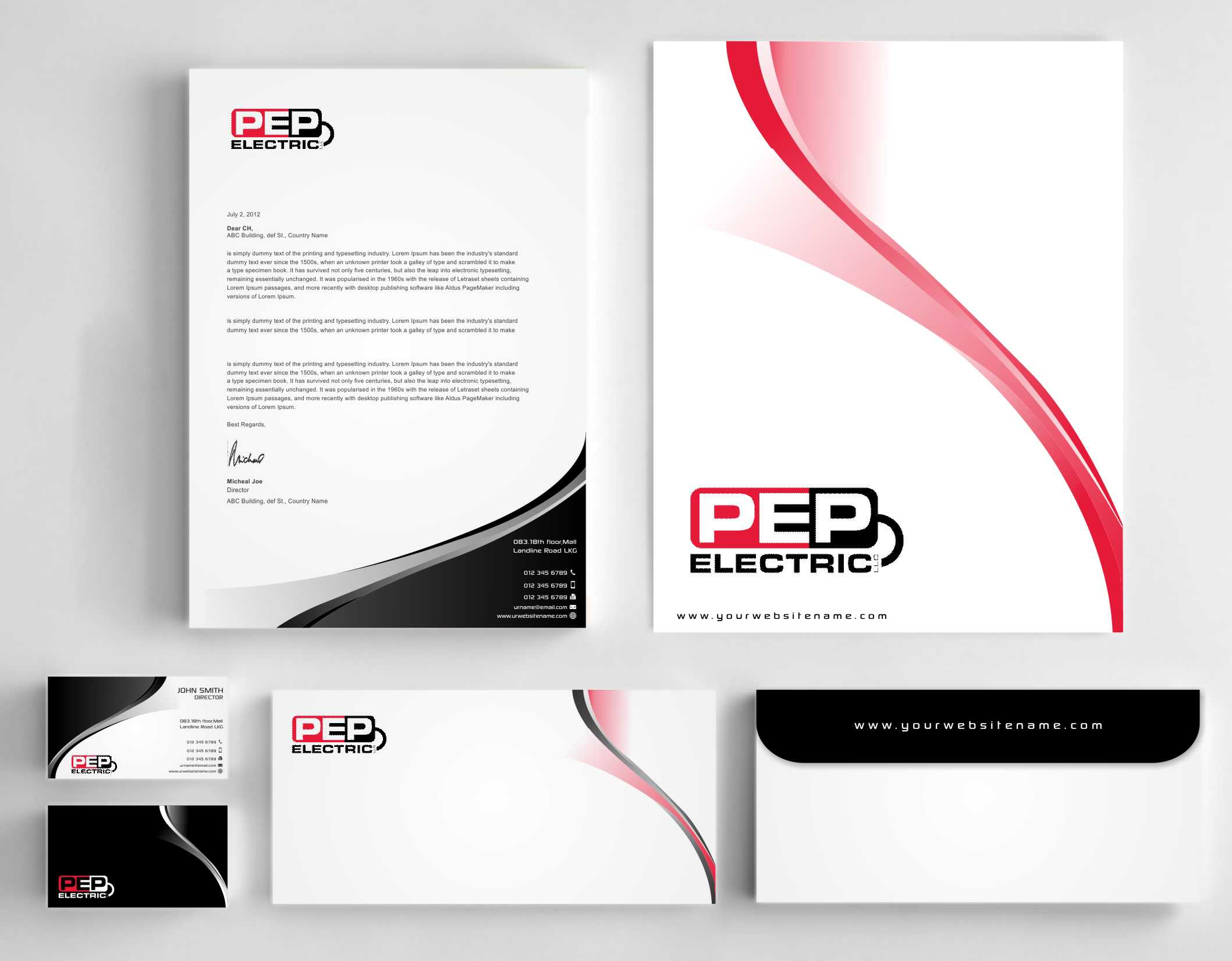 Stationary and business card for an electrical contractor - Construction