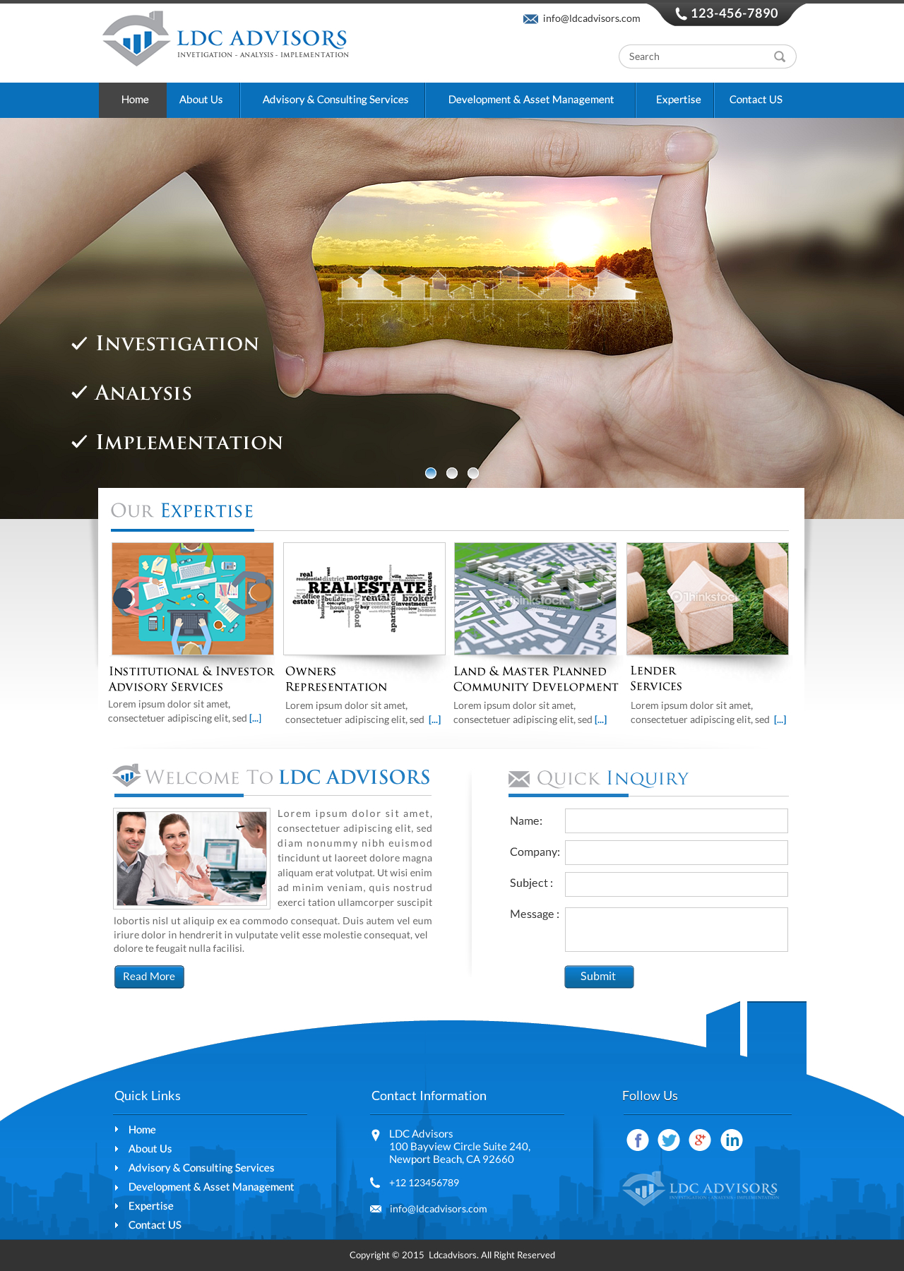 Traditional Website Design for Real Estate Advisory Company - Consulting