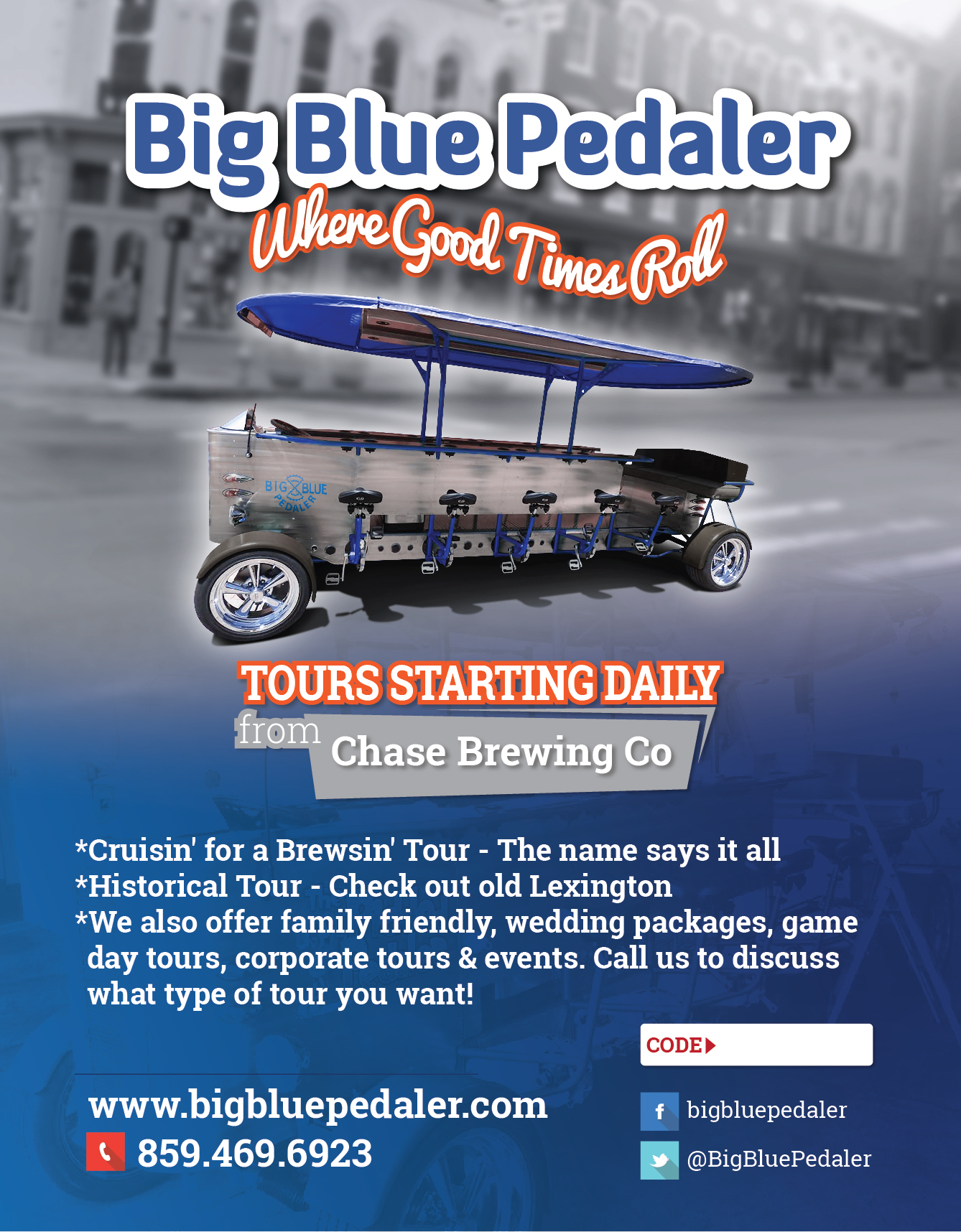 Flyer for pedal pub company - Entertainment