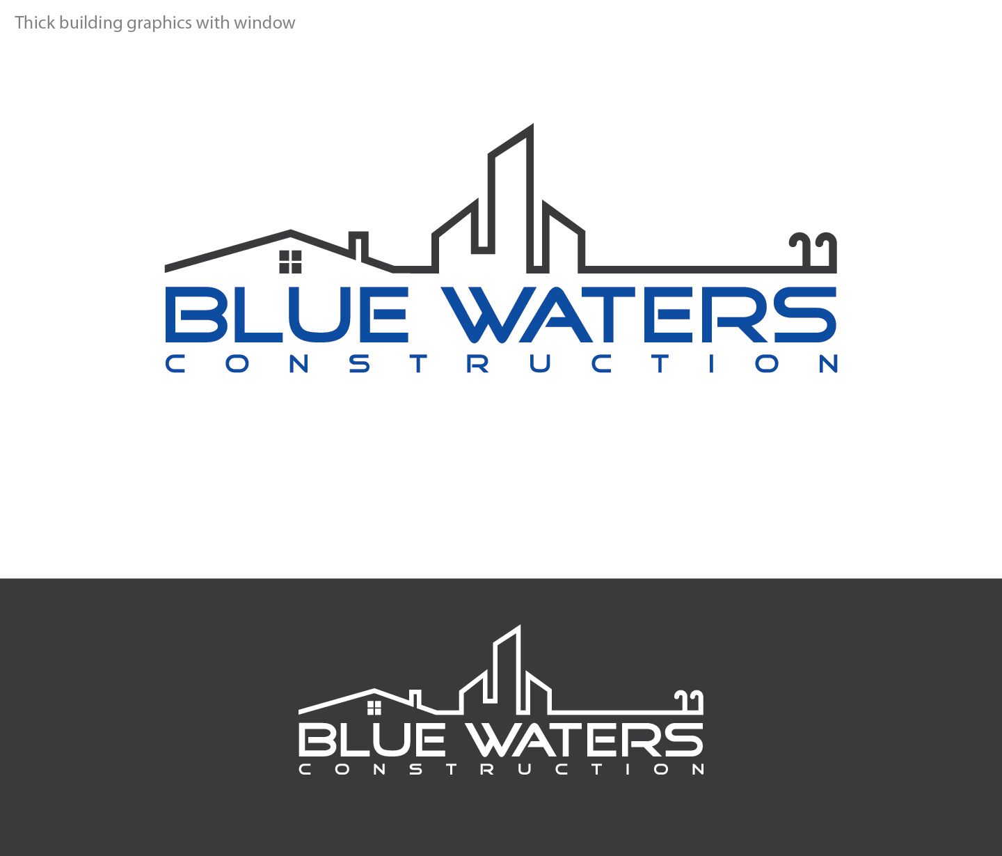 Blue Waters Construction - Construction Logo