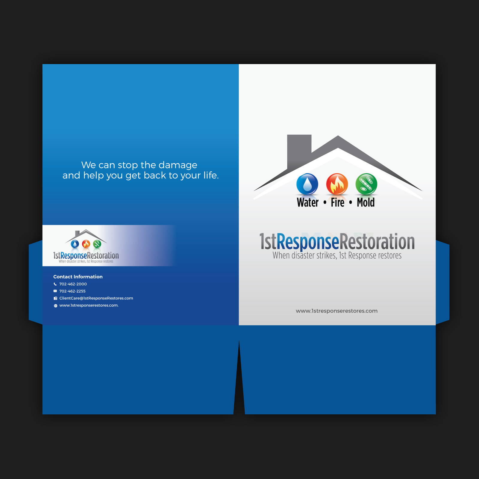 Presentation folder for water, fire, mold restoration company - Cleaning