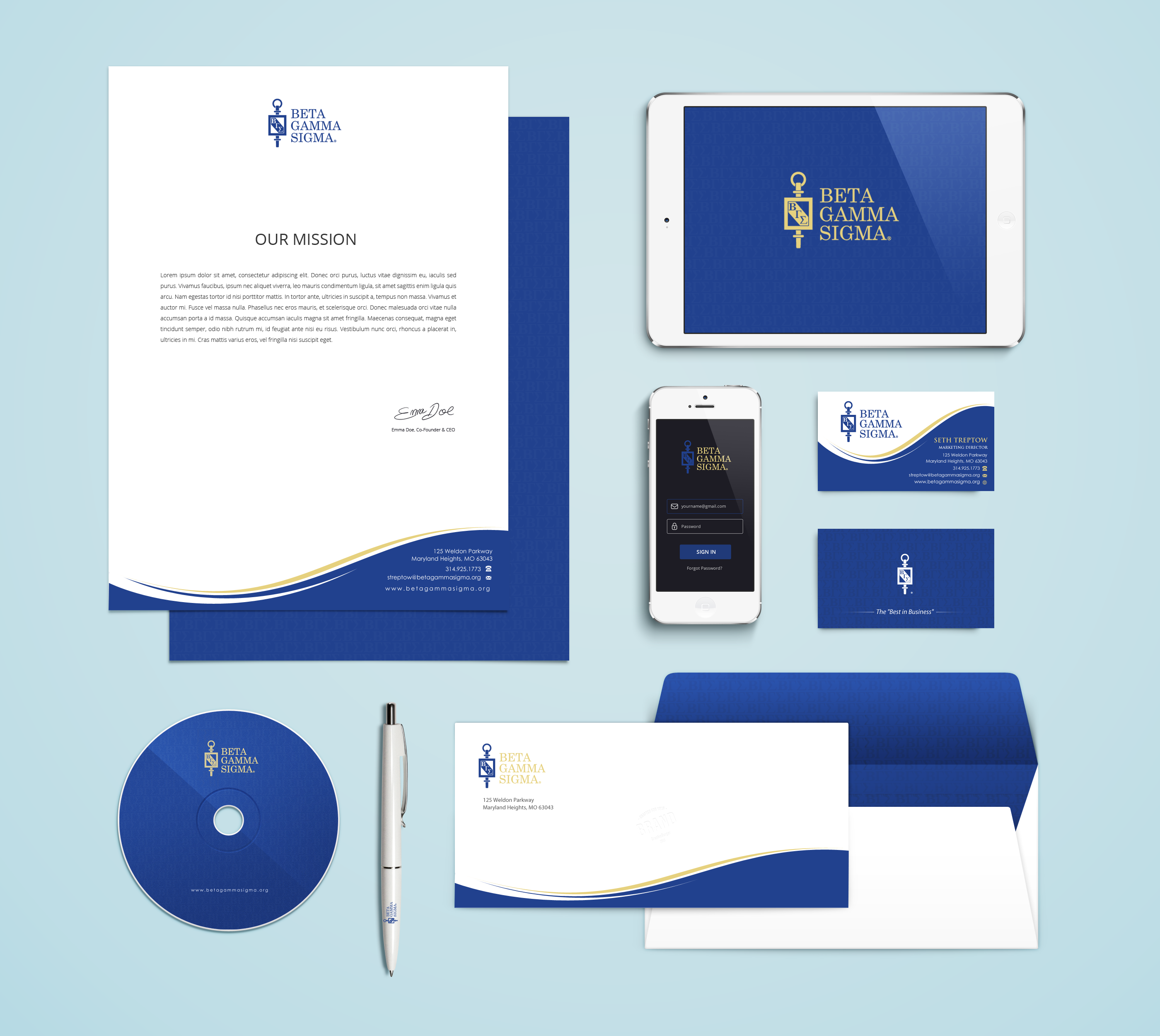 Business Cards and Letterhead for Business Honor Society - Corporate Services