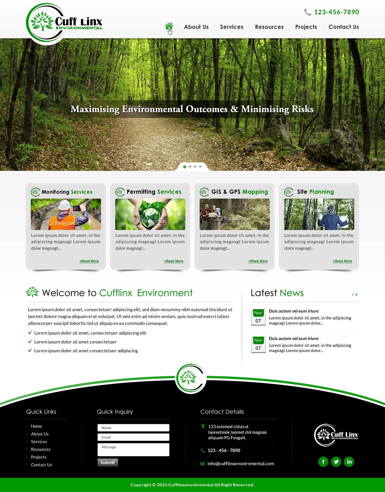 web page for environmental consultanting company - Environment