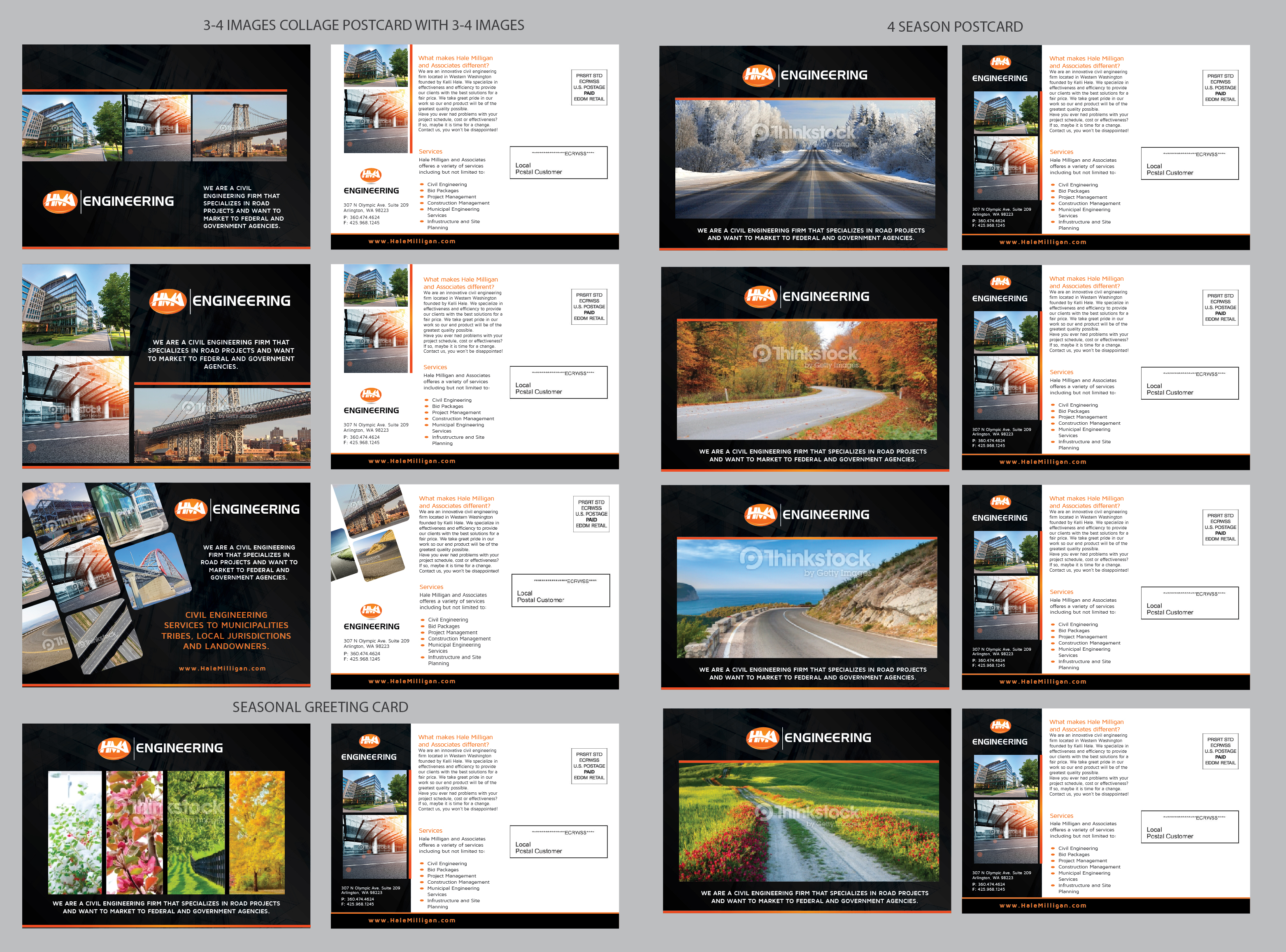 Clean Modern Civil Engineering Postcard with 4 Variations to mail throughout the year. - Engineering