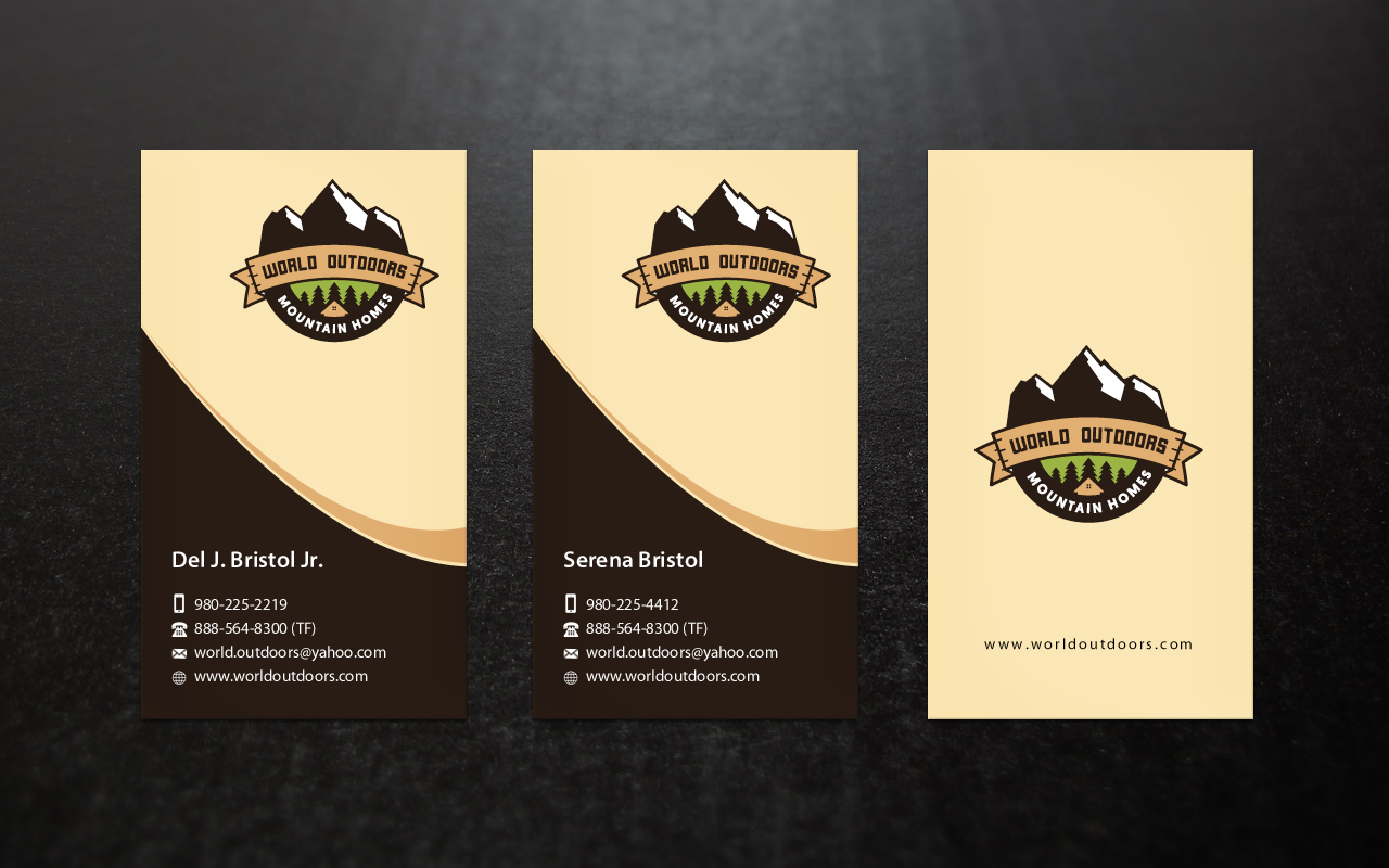 Business cards for World Outdoors Log Homes  - Construction