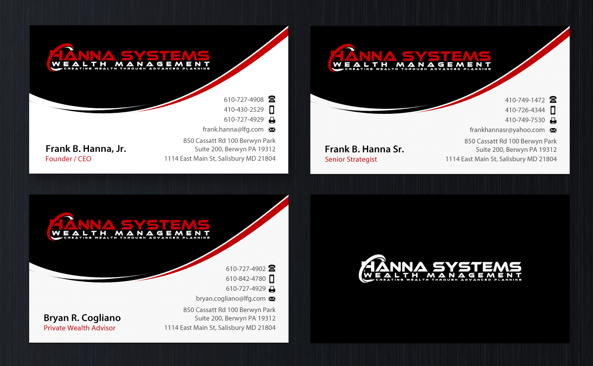 Business Cards for Hanna Systems - Financial Services
