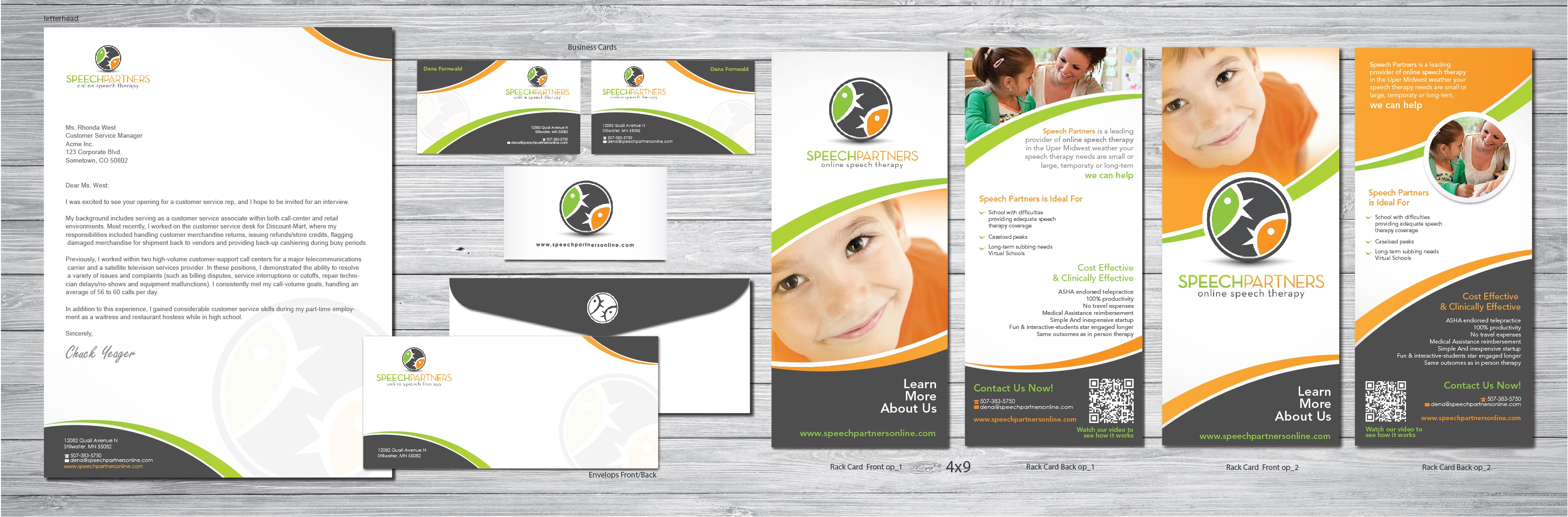 Business card, rack card, & stationery for an educational speech therapy company - Education