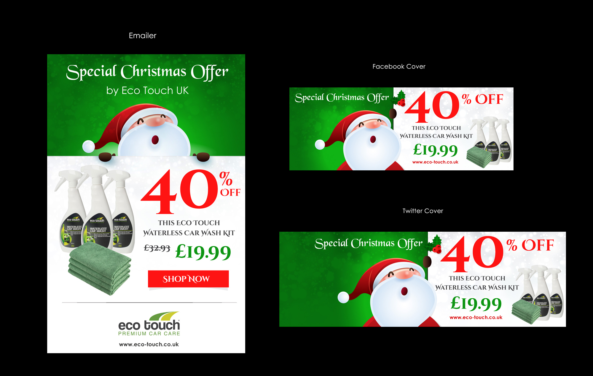 Marketing material for Christmas mailshot/social media Campaign for eco-friendly car care company - Home and Garden