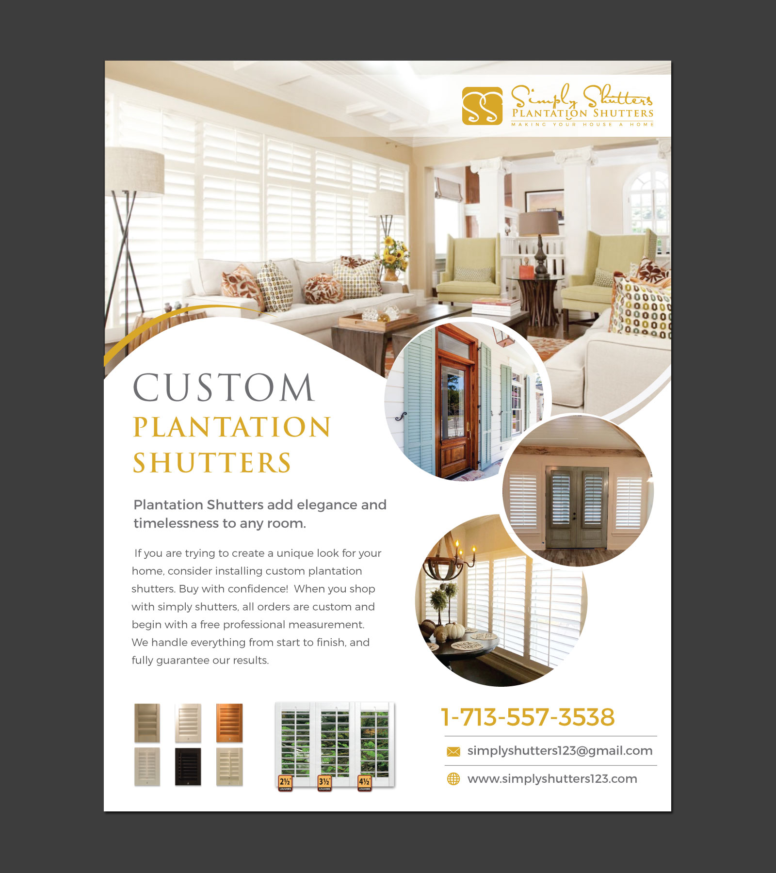 Magazine add for plantation shutter company- Simply Shutters - Home and Garden