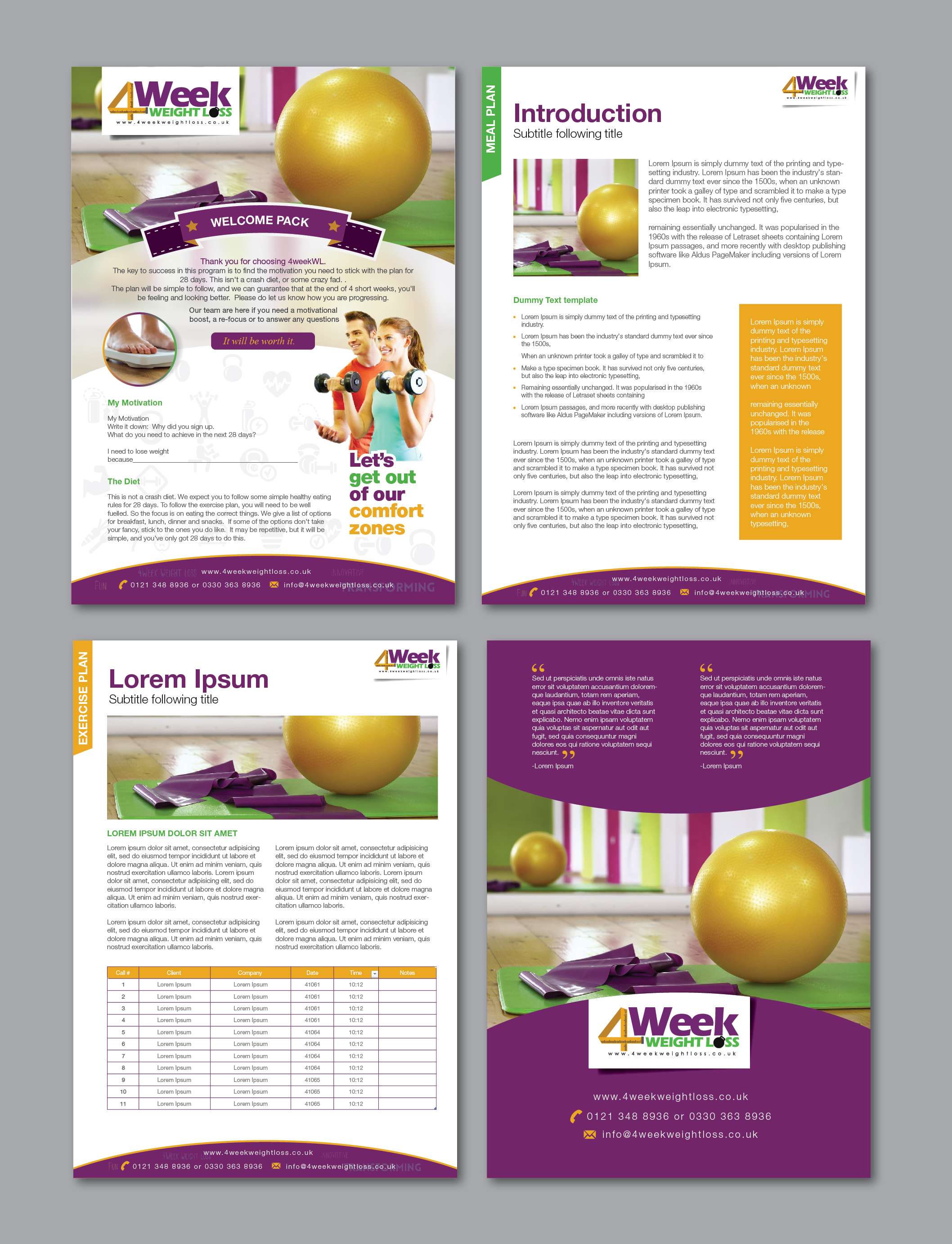 eBook / Brochure template for www.4weekweightloss.co.uk - Health