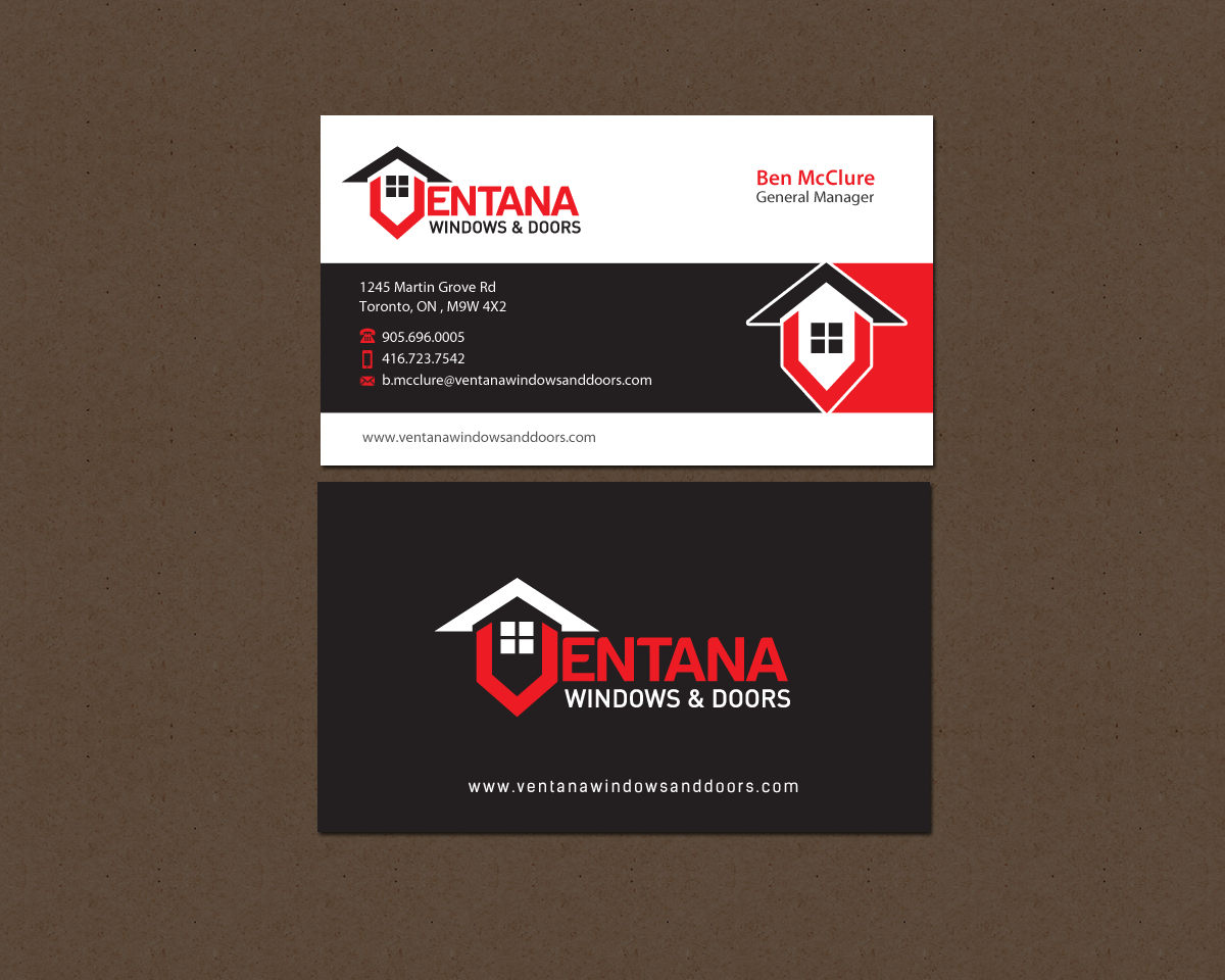 Stationary and Business card design for a residential window and door manufacturing company - Construction